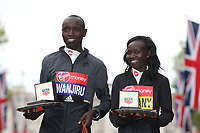 Daniel Wanjiru KEN and Mary Keitany KENpose with their winning salvers. The Virgin Money London Marathon, 23rd April 2017.<br /> <br /> Photo: Jed Leicester for Virgin Money London Marathon<br /> <br /> For further information: media@londonmarathonevents.co.uk