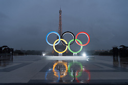 PARIS, Sept. 14, 2017  The Olympic rings are seen at the Trocadero Square in Paris, France, on Sept. 13, 2017. International Olympic Committee President Thomas Bach announced on Wednesday in Lima, Peru, that Paris will host the 2024 Olympic Games. (Credit Image: © Chen Yichen/Xinhua via ZUMA Wire)