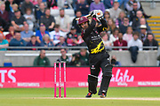 Johann Myburgh of Somerset hits the ball to the boundary for four runs during the Vitality T20 Finals Day semi final 2018 match between Sussex Sharks and Somerset County Cricket Club at Edgbaston, Birmingham, United Kingdom on 15 September 2018.