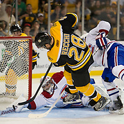 April 27, 2011; Boston, MA, USA; Boston Bruins forward Mark Recchi (28) narrowly misses a goal against Montreal Canadiens goaltender Corey Price (31) during the third period at TD Garden. Mandatory Credit: Michael Ivins-US PRESSWIRE