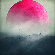 Surreal landscape with a bog pink moon over misty woodlands<br /> S6 Products of this design: http://bit.ly/2iD9OTK<br /> REDBUBBLE Prints &amp; more: http://rdbl.co/2hdnRMc