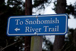 Snohomish River Trail Sign, Snohomish, Washington, US