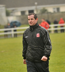 Kieran Mulchrone Westport United's Joint Manager at the Sportspark Westport for the FAI junior Cup Match.<br /> Pic Conor McKeown