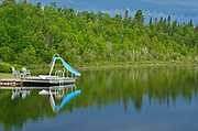 Dock and water slide on Net Lake<br />