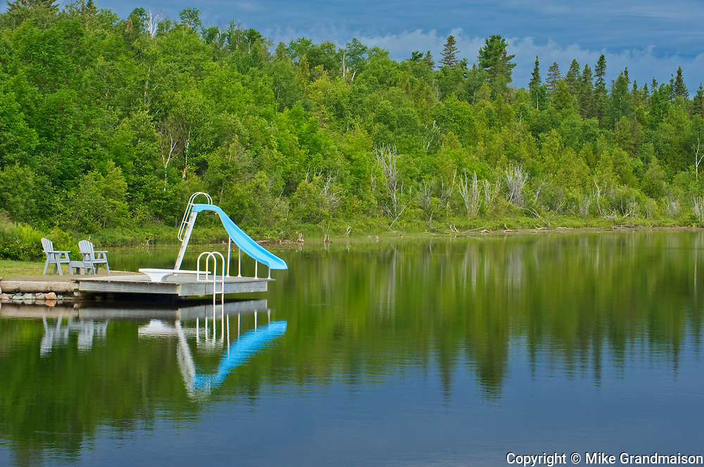 Dock and water slide on Net Lake<br />Temagami<br />Ontario<br />Canada