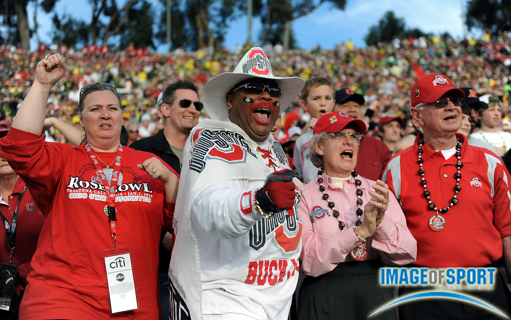 Jan 1, 2010; Pasadena, CA, USA; Ohio State Buckeyes fans react during the 2010 Rose Bowl against the Oregon Ducks at the Rose Bowl. Ohio State defeated Oregon 26-17.