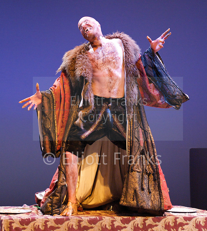 Beasts and Beauties<br /> by Carol Ann Duffy <br /> <br /> at the Hampstead Theatre <br /> London, Great Britain <br /> press photocall<br /> 5th December 2011 <br /> <br /> Kelly Williams (as Beauty)<br /> Jack Tarlton (as The Beast)<br /> Jason Thorpe (as dog)<br /> Michelle Bonnard <br /> Jake Harders<br /> Justin Avoth (as Blue Beard)<br /> Rhiannon Harper-Rafferty <br /> Photograph by Elliott Franks
