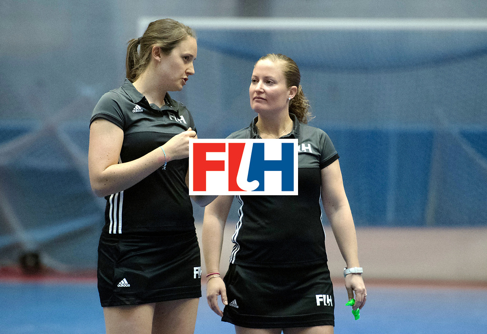 BERLIN - Indoor Hockey World Cup<br /> Switzerland - Poland<br /> foto: Umpires Emily Carroll and Maggy Giddens<br /> WORLDSPORTPICS COPYRIGHT FRANK UIJLENBROEK