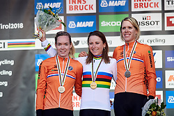 Top three: Annemiek van Vleuten (NED), Anna van der Breggen (NED) and Ellen van Dijk (NED) at UCI Road World Championships 2018 - Elite Women's ITT, a 27.7 km individual time trial in Innsbruck, Austria on September 25, 2018. Photo by Sean Robinson/velofocus.com