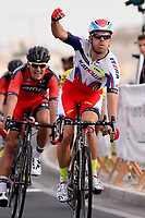 Arrival / KRISTOFF Alexander (NOR) winner / VAN AVERMAET Greg (BEL) during the 14th Tour of Qatar 2015, Stage 2, Al Wakra - Al Khor Corniche (187,5Km), on February 9, 2015. Photo Tim de Waele / DPPI
