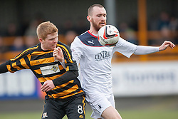 Alloa Athletic's Ryan McCord and Falkirk's Joe Chalmers.<br /> half time : Alloa Athletic 0 v 0 Falkirk, Scottish Championship game played today at Alloa Athletic's home ground, Recreation Park.<br /> &copy; Michael Schofield.