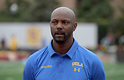 UCLA Bruins coach Avery Anderson during an NCAA college dual meet against the Southern California Trojans  in Los Angeles, Sunday, April 28, 2019.