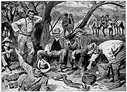 Boer fighters.  Jack Hindon and his gang of train wreckers. Drawing after a photograph. 2nd Boer War 1899-1902