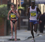 London Marathon, London, GREAT BRITAIN, location, Isle of Dogs. left Race No. 00113  DEENA. DROSSIN  (USA),Narrow Street. E1. © Peter Spurrier/Intersport Image/+447973819551