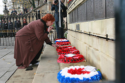 ©under license to London News Pictures. 04/11/2010 -  The RAF team start The March for Honour from the War Memorial in Stamford..The member of  family pay a tribute to killed soldier.