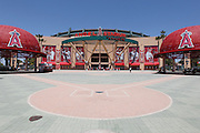 ANAHEIM, CA - MAY 15:  Two large metal renditions of the Los Angeles Angels of Anaheim hat decorate the entrance to the stadium during the game against the Oakland Athletics on Tuesday, May 15, 2012 at Angel Stadium in Anaheim, California. The Angels won the game 4-0. (Photo by Paul Spinelli/MLB Photos via Getty Images)