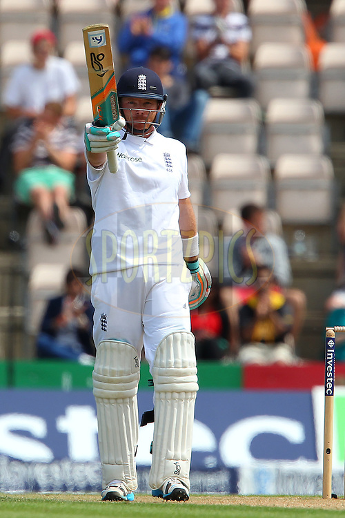 Ian Bell of England celebrates his fifty during day two of the third Investec Test Match between England and India held at The Ageas Bowl cricket ground in Southampton, England on the 28th July 2014<br /> <br /> Photo by Ron Gaunt / SPORTZPICS/ BCCI