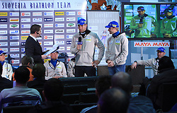 Vasja Rupnik and Joze Mehle at press conference of Slovenian Biathlon National Team before new season 2008/2009, on November 24, 2008 in Emporium, BTC, Ljubljana, Slovenia.  (Photo by Vid Ponikvar / Sportida)
