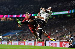 Nemani Nadolo of Fiji claims the ball in the air to score his team's opening try - Mandatory byline: Patrick Khachfe/JMP - 07966 386802 - 18/09/2015 - RUGBY UNION - Twickenham Stadium - London, England - England v Fiji - Rugby World Cup 2015 Pool A.