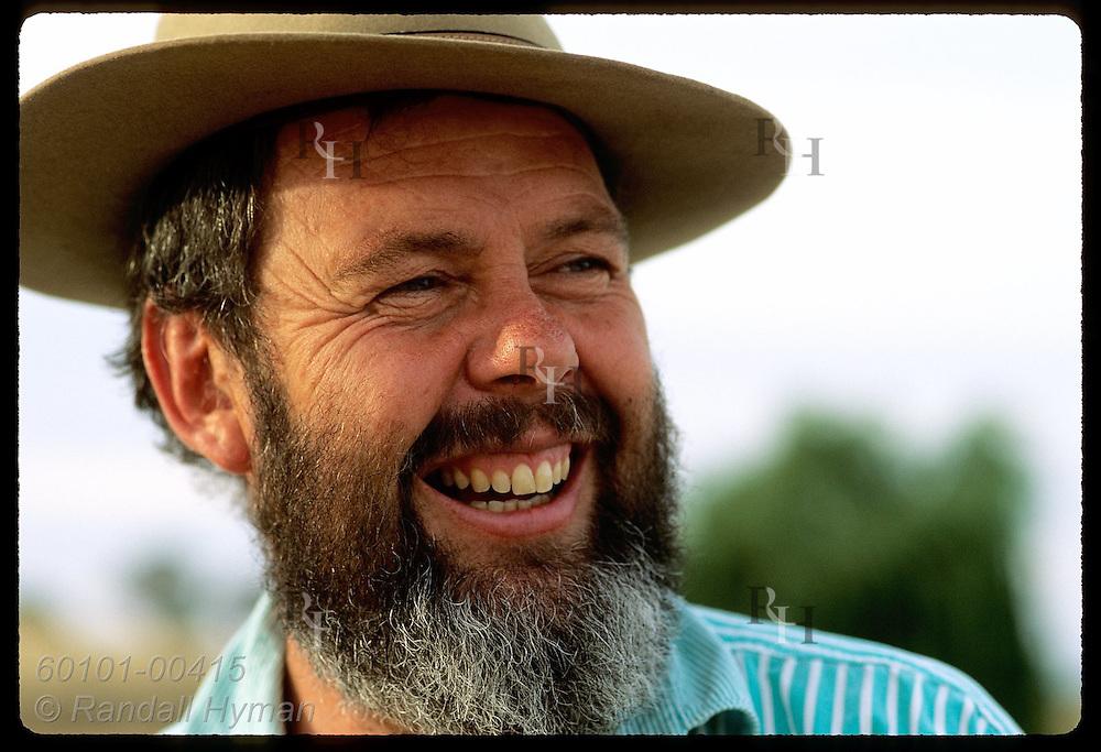 Greening Australia rep, Dick Green, sports classic Akubra hat and a big smile; New South Wales Australia