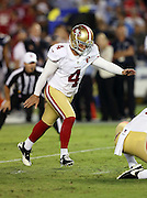 San Francisco 49ers kicker Phil Dawson (4) kicks a second quarter field goal good for a 9-7 halftime lead during the 2016 NFL preseason football game against the San Diego Chargers on Thursday, Sept. 1, 2016 in San Diego. The 49ers won the game 31-21. (©Paul Anthony Spinelli)
