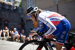 Shara Gillow (AUS) of FDJ Nouvelle Aquitaine Futuroscope Team rides near the top of the final climb of Stage 5 of the Giro Rosa - a 12.7 km individual time trial, starting and finishing in Sant'Elpido A Mare on July 4, 2017, in Fermo, Italy. (Photo by Balint Hamvas/Velofocus.com)