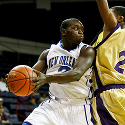 November 27, 2011; New Orleans, LA; New Orleans Privateers guard Darrell Williams (2) passes as Alcorn State Braves guard Twann Oakley (2) defends during the first half of a game at the Lakefront Arena.  Mandatory Credit: Derick E. Hingle-US PRESSWIRE
