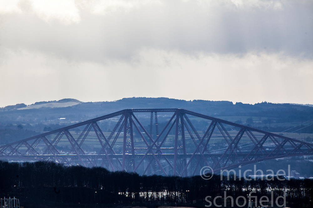 Forth Rail Bridge span, as seen from the A921 near Burntisland, Fife.