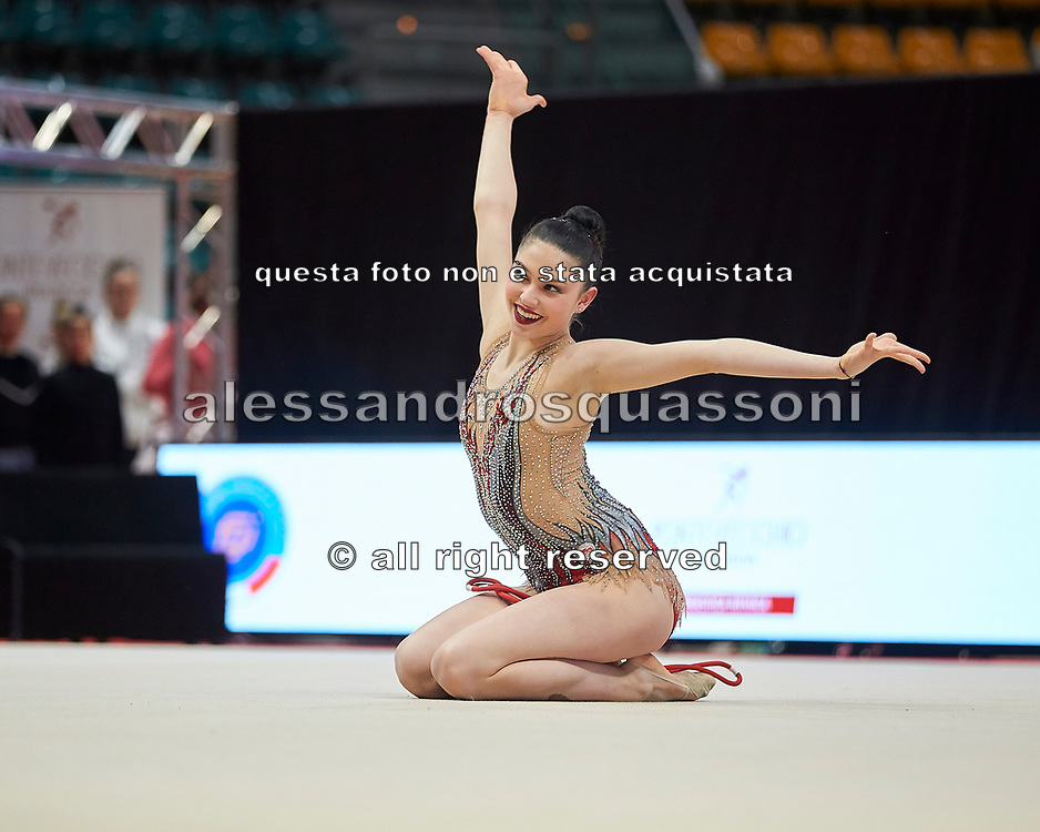 Milena Baldassarri from Ginnastica Fabriano team during the Italian Rhythmic Gymnastics Championship in Bologna, 9 February 2019.