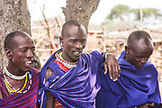 A group of Maasai men in the village. Photographed in Kenya