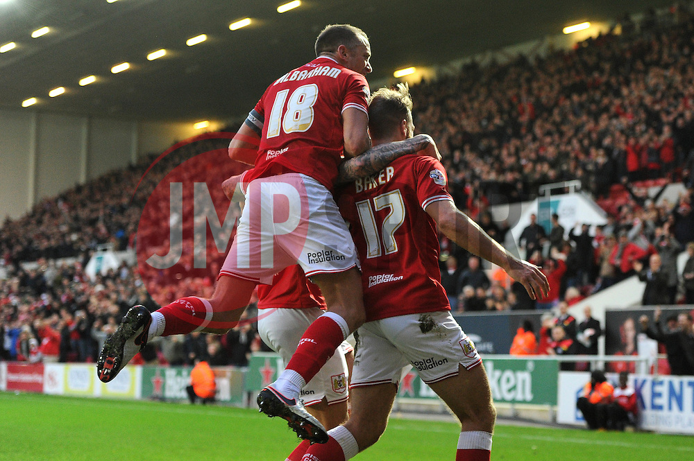 Nathan Baker of Bristol City celebrates his goal with Aden Flint and Aaron Wilbraham - Mandatory byline: Dougie Allward/JMP - 07966 386802 - 26/12/2015 - FOOTBALL - Ashton Gate - Bristol, England - Bristol City v Charlton Athletic - Sky Bet Championship