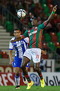 Portugal, FUNCHAL :Maritimo's Nigerian forward Maazou  (D)  controls the ball  during Portuguese League football match Maritimo vs F.C. Porto at Barreiros Stadium in Funchal on January  25, 2015. PHOTO/ GREGORIO CUNHA