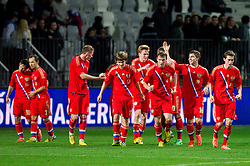 Players of Russia celebrate after Aleksei Nikitin of Russia scored in overtime during football match between U21 National Teams of Slovenia and Russia in 6th Round of U21 Euro 2015 Qualifications on November 15, 2013 in Stadium Bonifika, Koper, Slovenia. Photo by Vid Ponikvar / Sportida