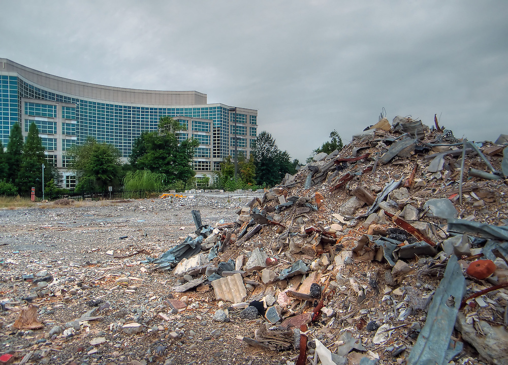 Debris from demolished building