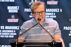 Sept 19, 2012; New York, NY, USA; Trainer Freddie Roach speaks during the press conference announcing the fourth fight between Manny Pacquiao and Juan Manuel Marquez at The Edison Ballroom.