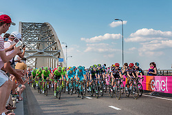 Peloton with Cannondale Pro Cycling Team (USA), Astana Pro Team (KAZ) and Movistar Team (ESP) leading at the 1st lap, 1200m before the finish on the Waalbridge at Nijmegen, stage 2 from Arnhem to Nijmegen running 190 km of the 99th Giro d'Italia (UCI WorldTour), The Netherlands, 7 May 2016. Photo by Pim Nijland / PelotonPhotos.com | All photos usage must carry mandatory copyright credit (Peloton Photos | Pim Nijland)