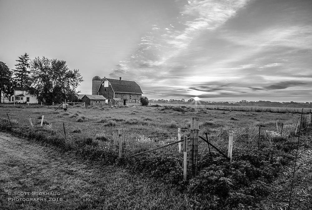 Sunrise in farm country
