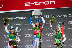 Wendy Holdener (SUI), Nina Haver Loeseth (NOR) celebrating after the Ladies' Slalom at 56th Golden Fox event at Audi FIS Ski World Cup 2019/20, on February 16, 2020 in Podkoren, Kranjska Gora, Slovenia. Photo by Matic Ritonja / Sportida