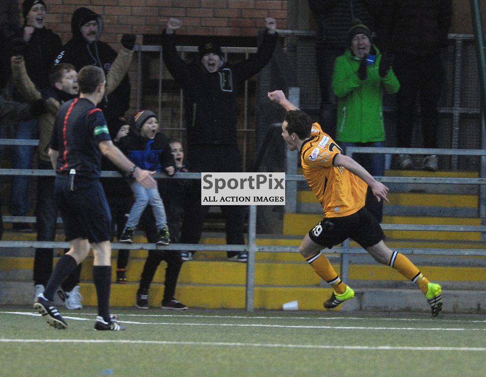 Ben Jago (Annan Athletic, amber &amp; black, 19) scores a header from a corner to make it 4-2<br /> <br /> Annan Athletic v Elgin City, SPFL League 2, 30th January 2016<br /> <br /> (c) Alex Todd | SportPix.org.uk