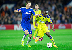 Nemanja Matić of Chelsea vs Jean Philippe Mendy of Maribor during football match between Chelsea FC and NK Maribor, SLO in Group G of Group Stage of UEFA Champions League 2014/15, on October 21, 2014 in Stamford Bridge Stadium, London, Great Britain. Photo by Vid Ponikvar / Sportida.com