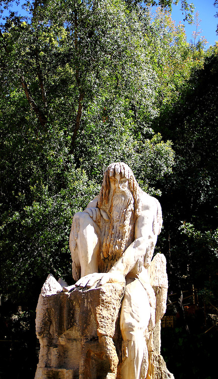 Statue of the Guardian of Time by Lebanese sculptor Tony Farah at the Jeita Grotto, Lebanon.