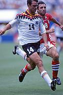 FIFA World Cup - USA 1994<br /> 10.7.1994, Giants Stadium, New York/New Jersey.<br /> World Cup Quarter Final, Bulgaria v Germany.<br /> Thomas Berthold (Germany) v Hristo Stoitchkov (Bulgaria).
