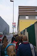 Vienna, Austria. Veterinärmedizinische Universität Wien (Vetmeduni Vienna).<br /> Students cueing at the entrance.