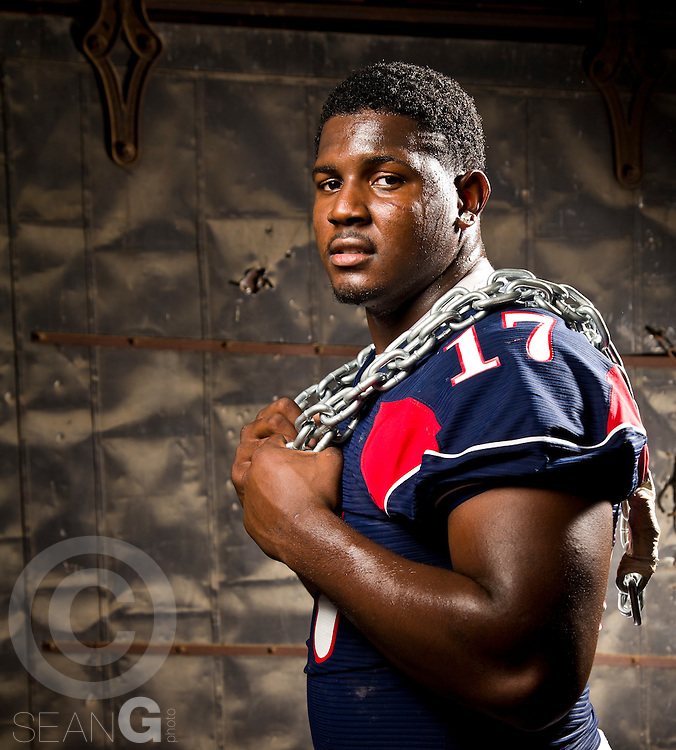 Mario Edwards Jr., running back for Denton Ryan High School poses for a portrait at the Stockyards in Fort Worth, Texas, Thursday, June 16, 2011. (PHOTO BY SEAN GALLAGHER)