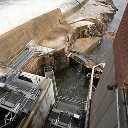 The fish elevator at the Holyoke Dam in Holyoke, Massachusetts. The elevator lifts fish over the dam on the Connecticut River.