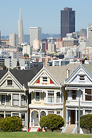 Downtown Scenic View From Alamo Square Postcard Row, San Francisco, California