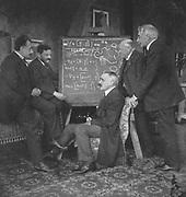 Albert EINSTEIN (1879-1955), German-Swiss-American mathematical physicist, left, with Paul Ehrenfest, Paul Langevin (1872-1946), French physicist, centre, Kammerling-Onnes and Pierre Weiss, Ehrenfest's home, Leyden, Netherlands.