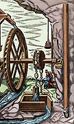 Mine being drained by a rag-and-chain pump powered by overshot water wheel. At right is detail of section of pipe K. From Agricola 'De re metallica', Basle, 1556.