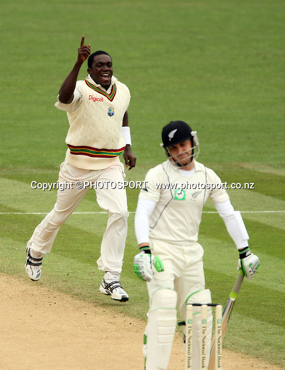 Jerome Taylor celebrates the wicket of Brendon McCullum during play on day 3 of the second cricket test at McLean Park in Napier. National Bank Test Series, New Zealand v West Indies, Sunday 21 December 2008. Photo: Andrew Cornaga/PHOTOSPORT