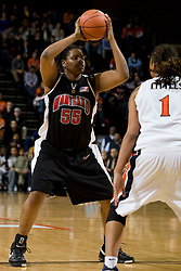 Maryland forward/center Jade Perry (55) in action against Virginia. The Virginia Cavaliers women's basketball team faced the #4 ranked Maryland Terrapins at the John Paul Jones Arena in Charlottesville, VA on January 18, 2008.